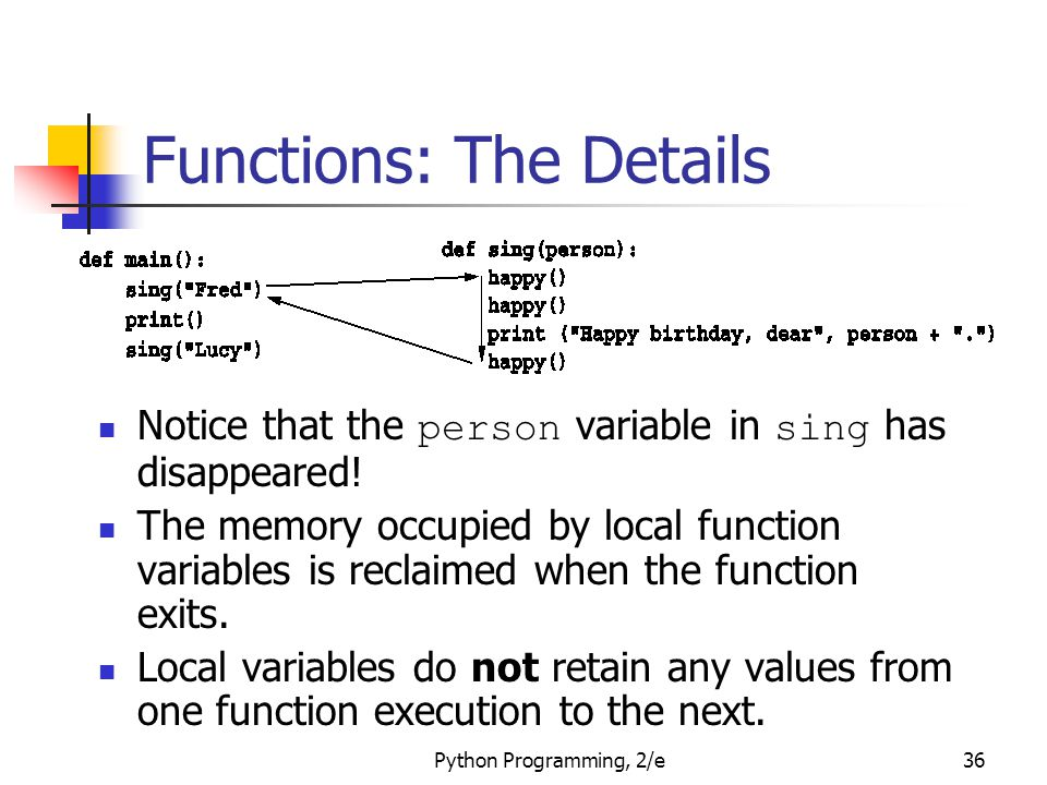 Python Programming, 2/e36 Functions: The Details Notice that the person variable in sing has disappeared! The memory occupied by local function variab
