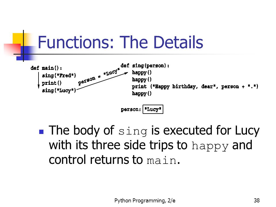 Python Programming, 2/e38 Functions: The Details The body of sing is executed for Lucy with its three side trips to happy and control returns to main.