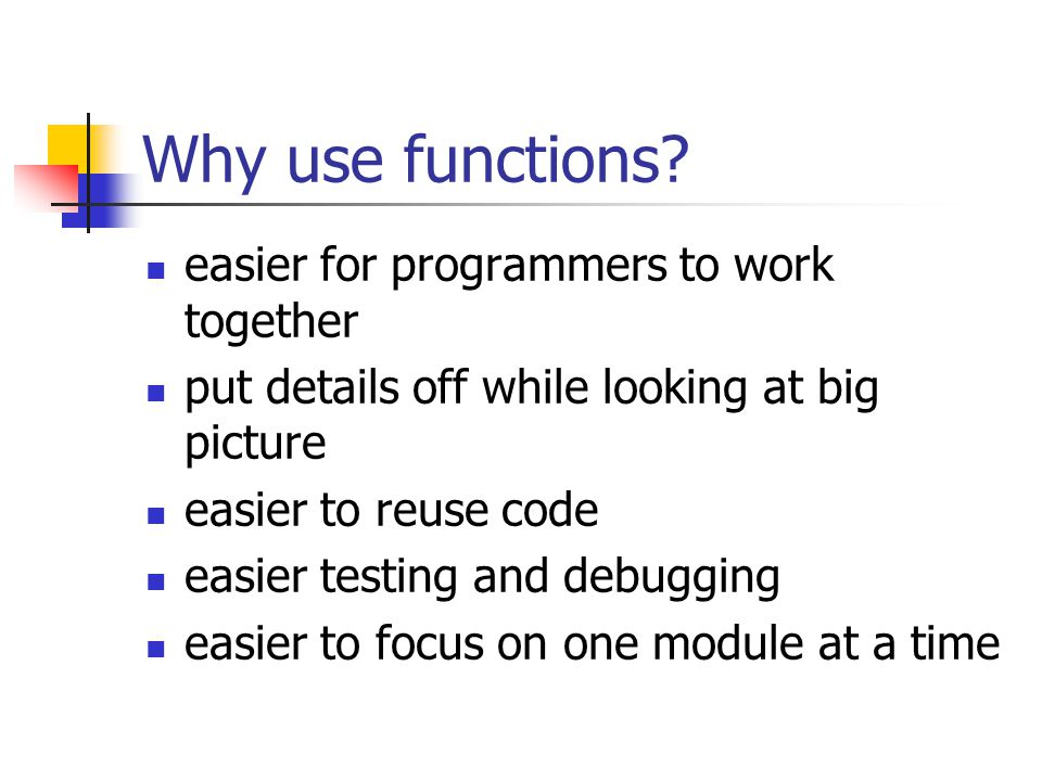 Python Programming, 2/e6 The Function of Functions Having similar or identical code in more than one place has some drawbacks.