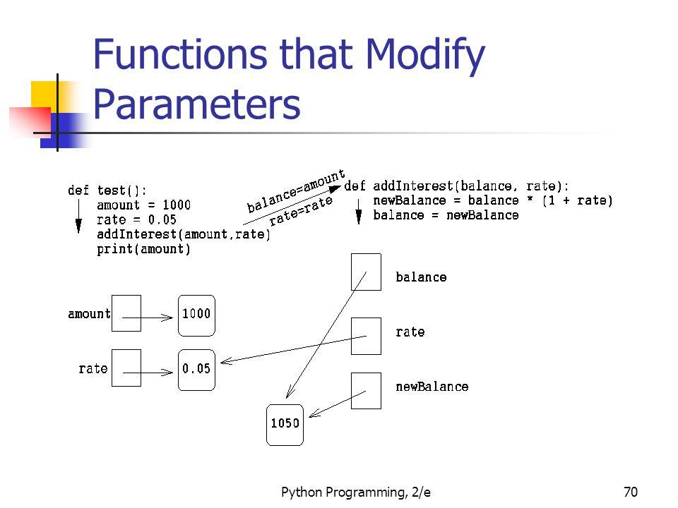 Python Programming, 2/e70 Functions that Modify Parameters