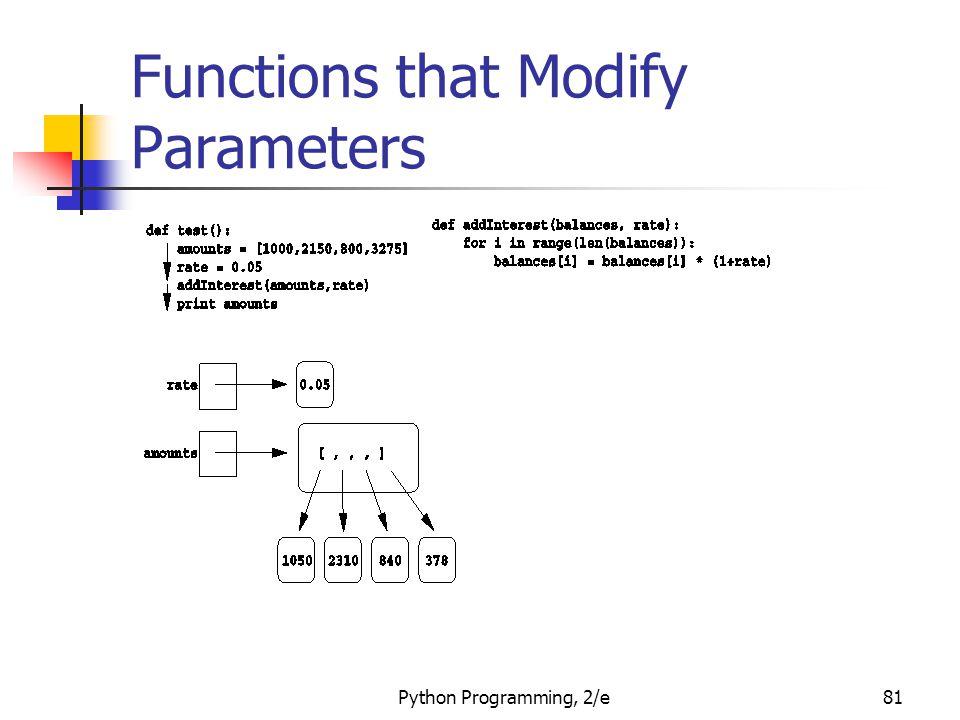 Python Programming, 2/e81 Functions that Modify Parameters