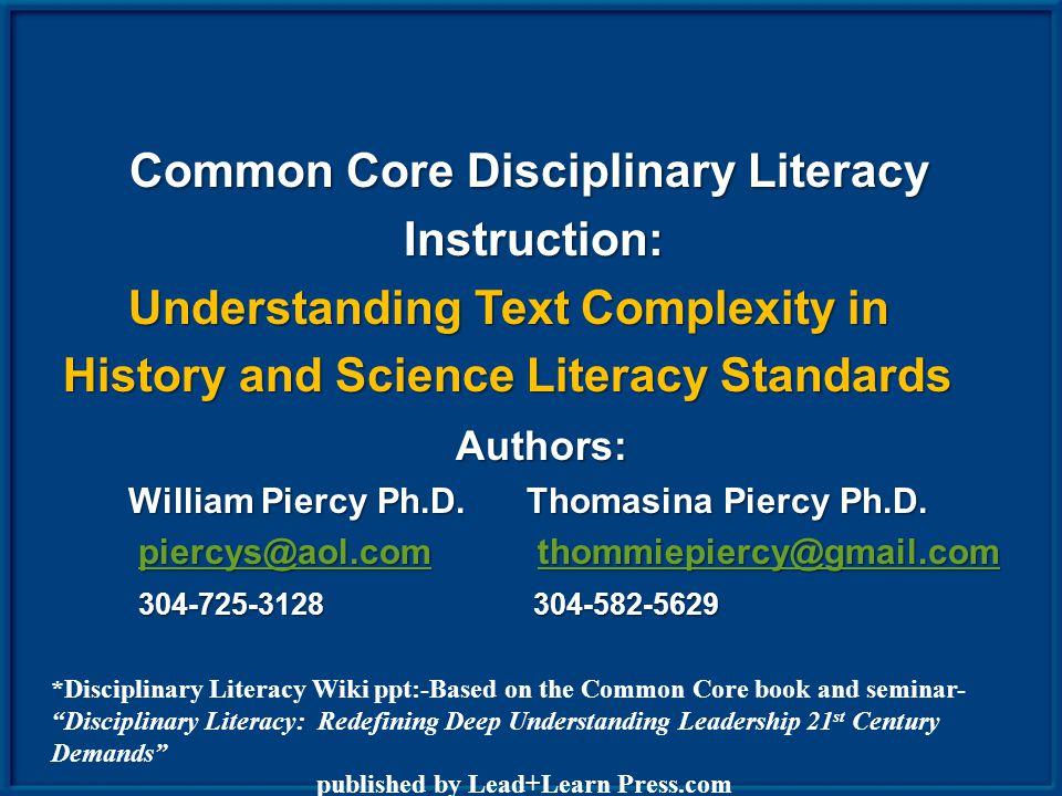 Shanahan & Shanahan What Do the Researchers Say? DisciplinaryLiteracy Intermediate Literacy