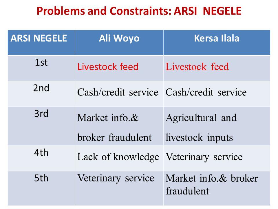 Problems and Constraints: ARSI NEGELE ARSI NEGELEAli WoyoKersa Ilala 1st Livestock feed 2nd Cash/credit service 3rd Market info.& broker fraudulent Ag