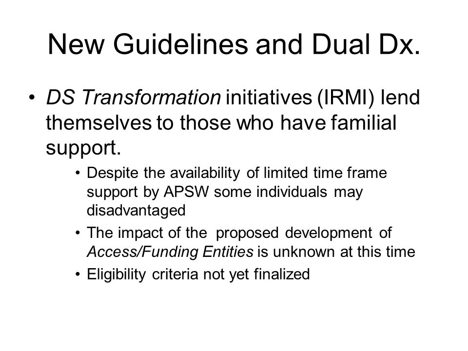 New Guidelines and Dual Dx.