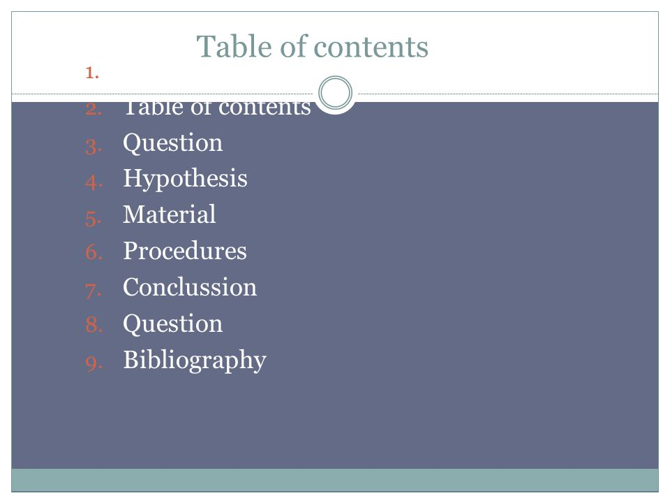 Table of contents 1.Title 2. Table of contents 3.