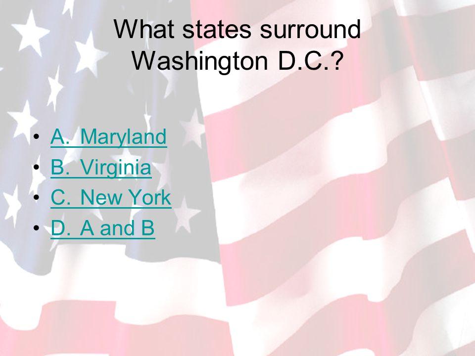 What states surround Washington D.C..