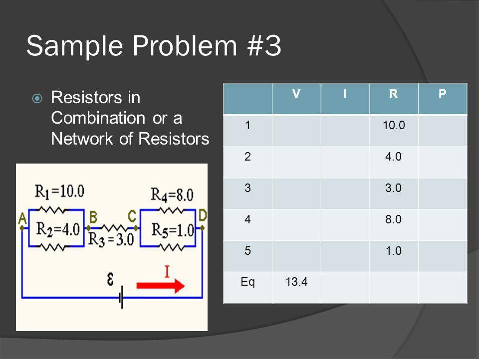 Sample Problem #3  Resistors in Combination or a Network of Resistors VIRP 110.0 24.0 33.0 48.0 51.0 Eq13.4