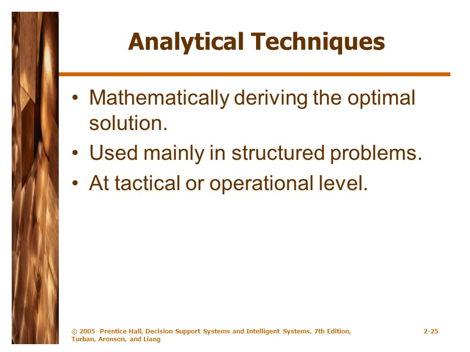 Analytical Techniques Mathematically deriving the optimal solution.