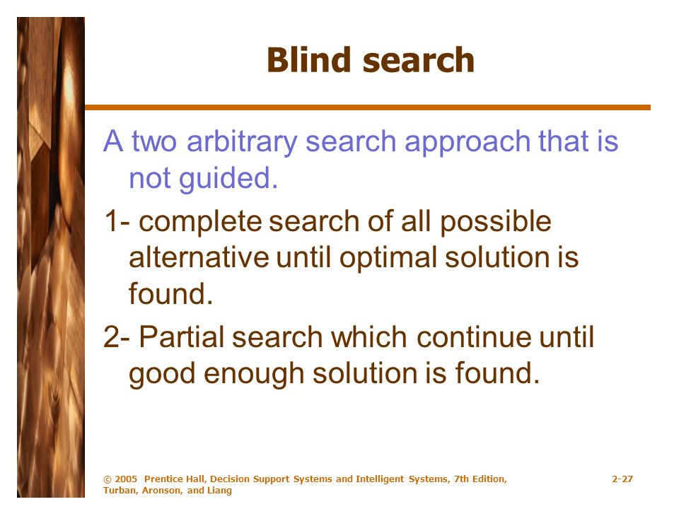 Blind search A two arbitrary search approach that is not guided.