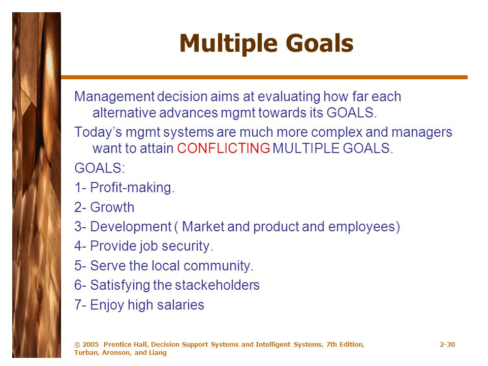 Multiple Goals Management decision aims at evaluating how far each alternative advances mgmt towards its GOALS.