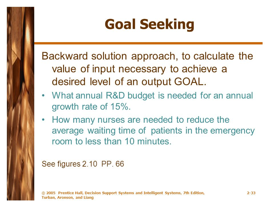 Goal Seeking Backward solution approach, to calculate the value of input necessary to achieve a desired level of an output GOAL.