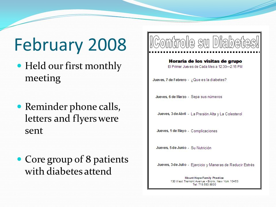 February 2008 Held our first monthly meeting Reminder phone calls, letters and flyers were sent Core group of 8 patients with diabetes attend