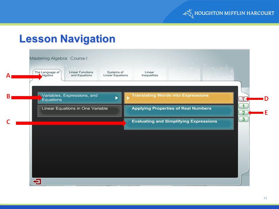 11 Lesson Navigation A B C D E
