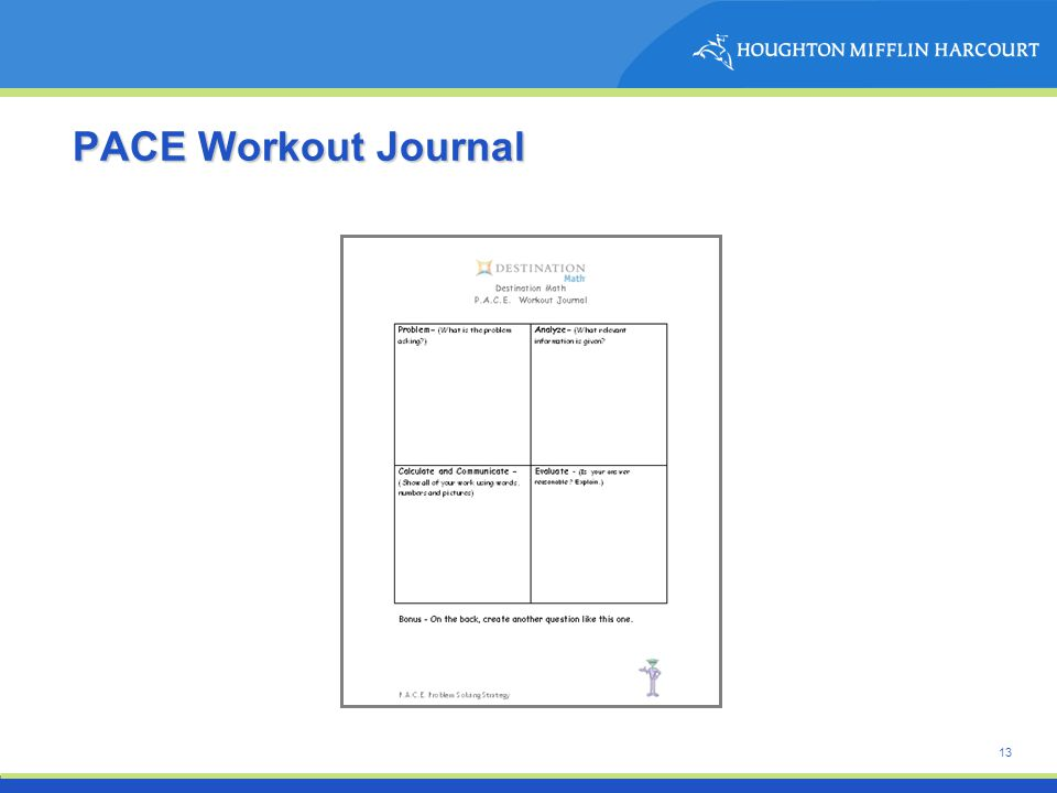 13 PACE Workout Journal