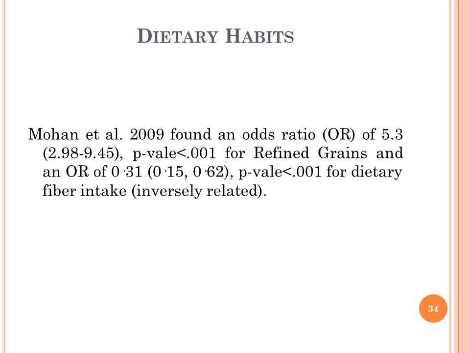 D IETARY H ABITS Mohan et al.