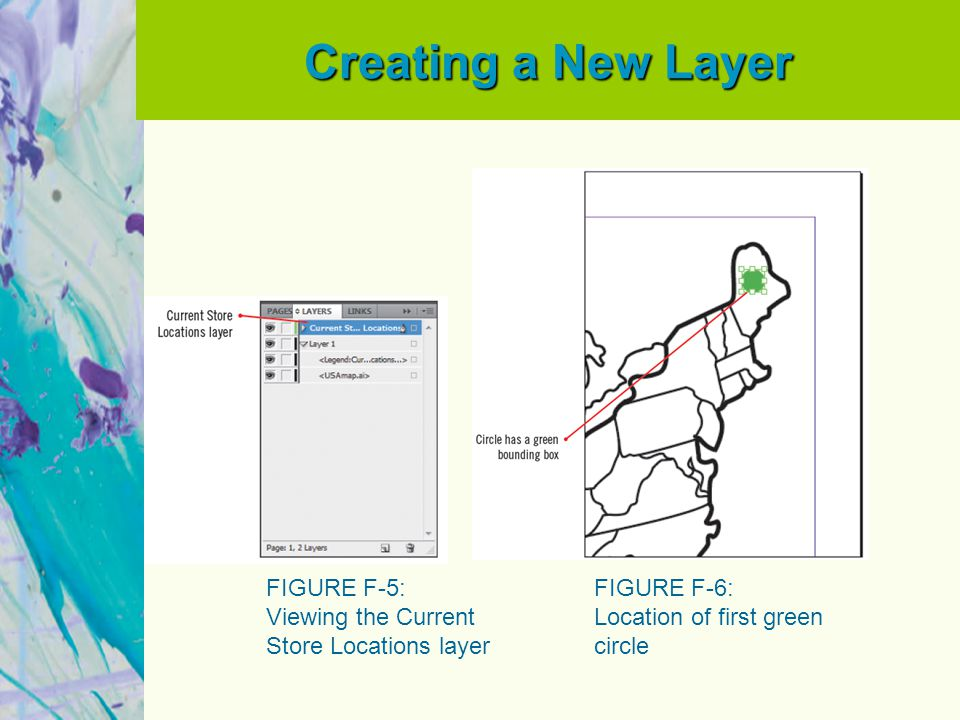 Creating a New Layer FIGURE F-5: Viewing the Current Store Locations layer FIGURE F-6: Location of first green circle