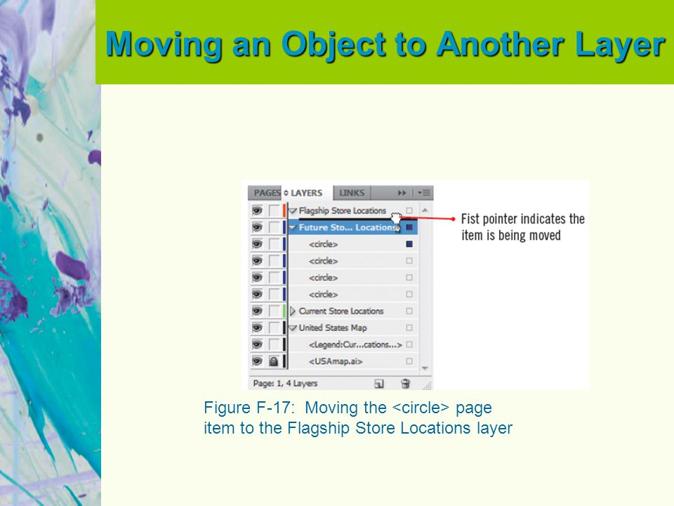 Moving an Object to Another Layer Figure F-17: Moving the page item to the Flagship Store Locations layer