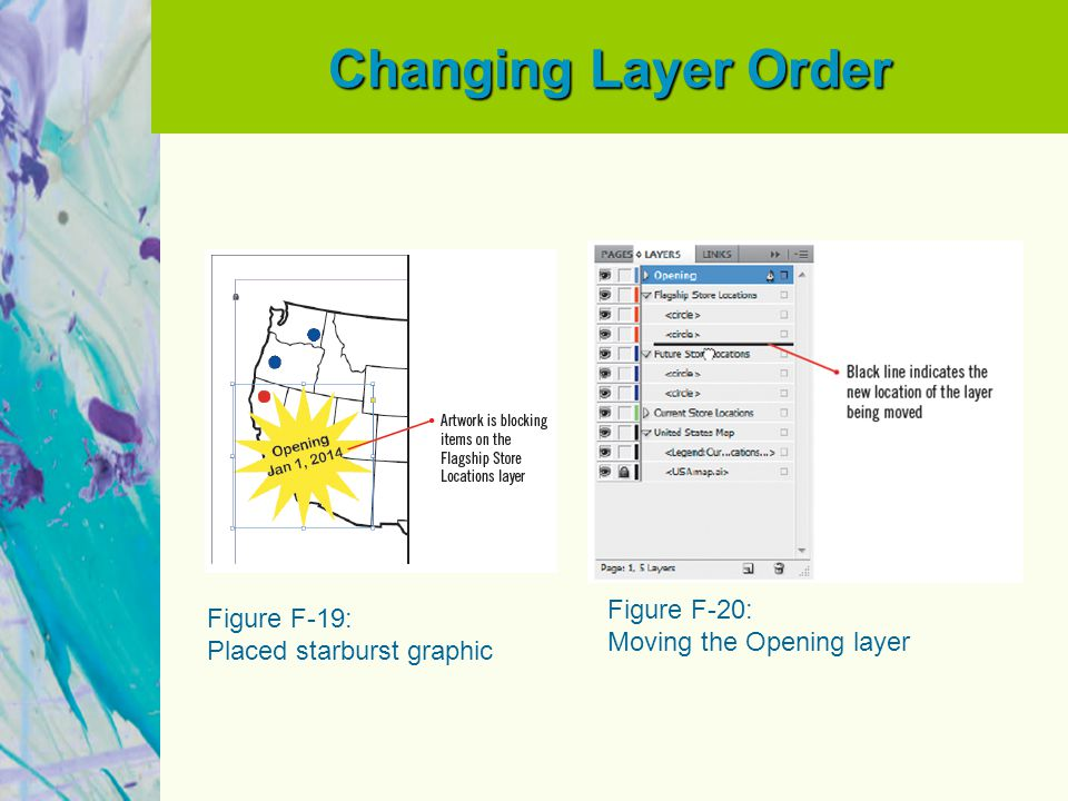 Changing Layer Order Figure F-19: Placed starburst graphic Figure F-20: Moving the Opening layer
