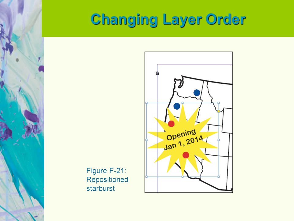 Changing Layer Order Figure F-21: Repositioned starburst