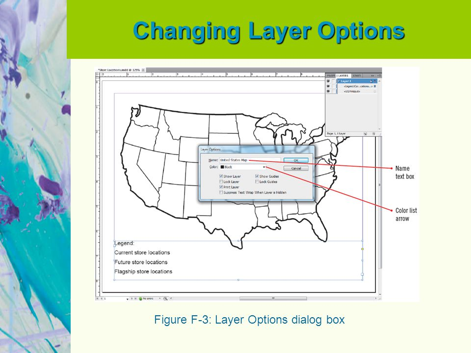 Changing Layer Options Figure F-3: Layer Options dialog box