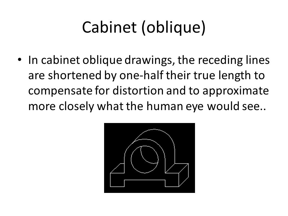 Cabinet (oblique) In cabinet oblique drawings, the receding lines are shortened by one-half their true length to compensate for distortion and to approximate more closely what the human eye would see..