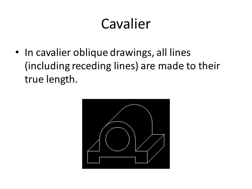 Cavalier In cavalier oblique drawings, all lines (including receding lines) are made to their true length.