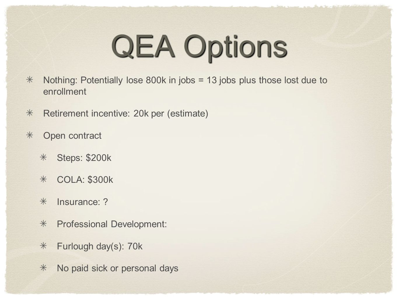 QEA Options Nothing: Potentially lose 800k in jobs = 13 jobs plus those lost due to enrollment Retirement incentive: 20k per (estimate) Open contract Steps: $200k COLA: $300k Insurance: .