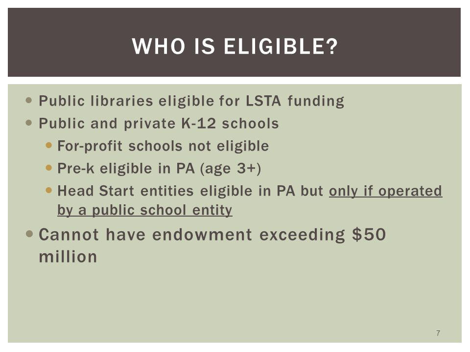 Under contract with PDE to serve as PA E-rate Coordinator Provide outreach and training to schools and libraries in PA Represent PA before federal policymakers Maintain PA E-rate website and listserve Act as resource when E-rate administrator can't help 6 WHAT IS JULIE'S ROLE