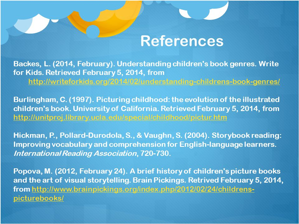 Backes, L. (2014, February). Understanding children s book genres.