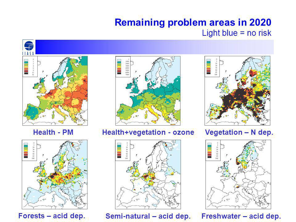 Remaining problem areas in 2020 Light blue = no risk Forests – acid dep.