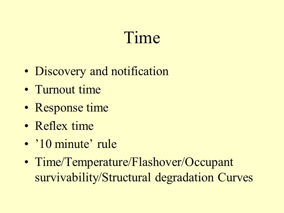 Time Discovery and notification Turnout time Response time Reflex time '10 minute' rule Time/Temperature/Flashover/Occupant survivability/Structural degradation Curves