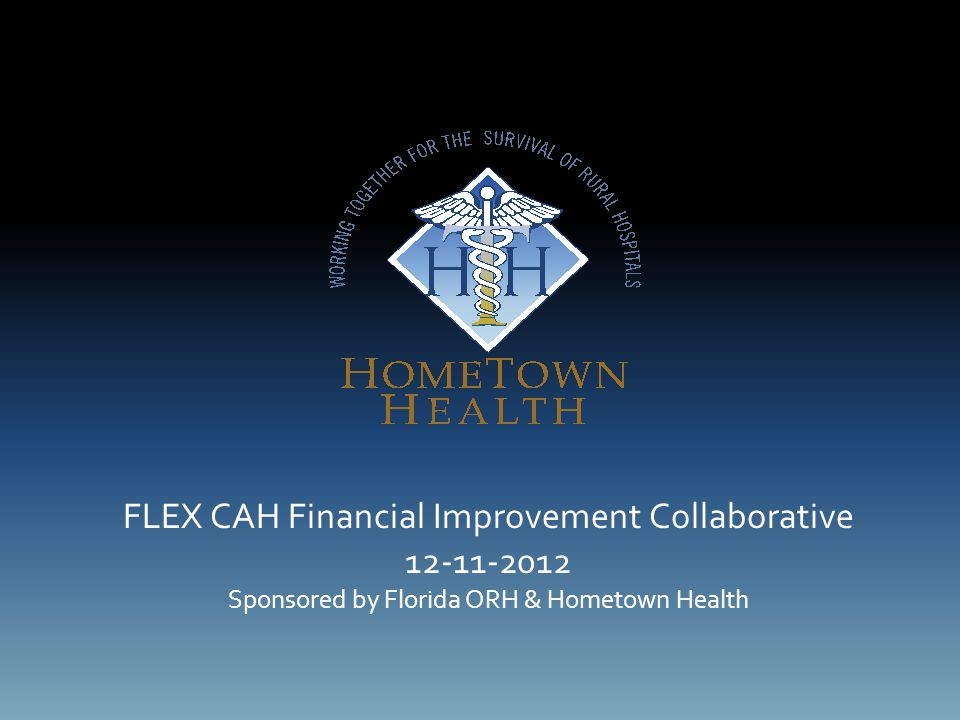 FLEX CAH Financial Improvement Collaborative 12-11-2012 Sponsored by Florida ORH & Hometown Health