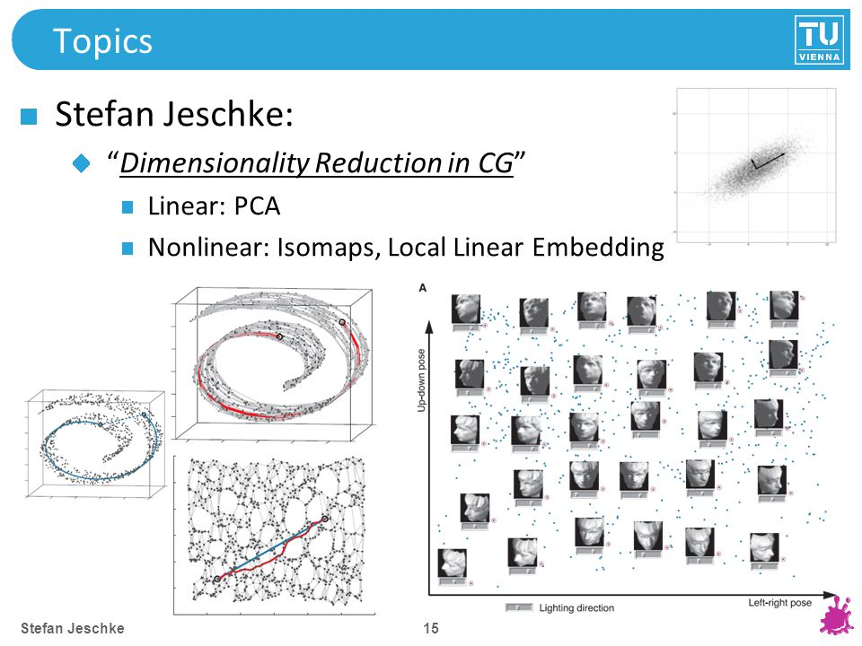 15 Topics Stefan Jeschke: Dimensionality Reduction in CG Linear: PCA Nonlinear: Isomaps, Local Linear Embedding Stefan Jeschke