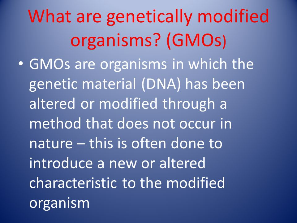 What are genetically modified organisms? (GMOs ) GMOs are organisms in which the genetic material (DNA) has been altered or modified through a method