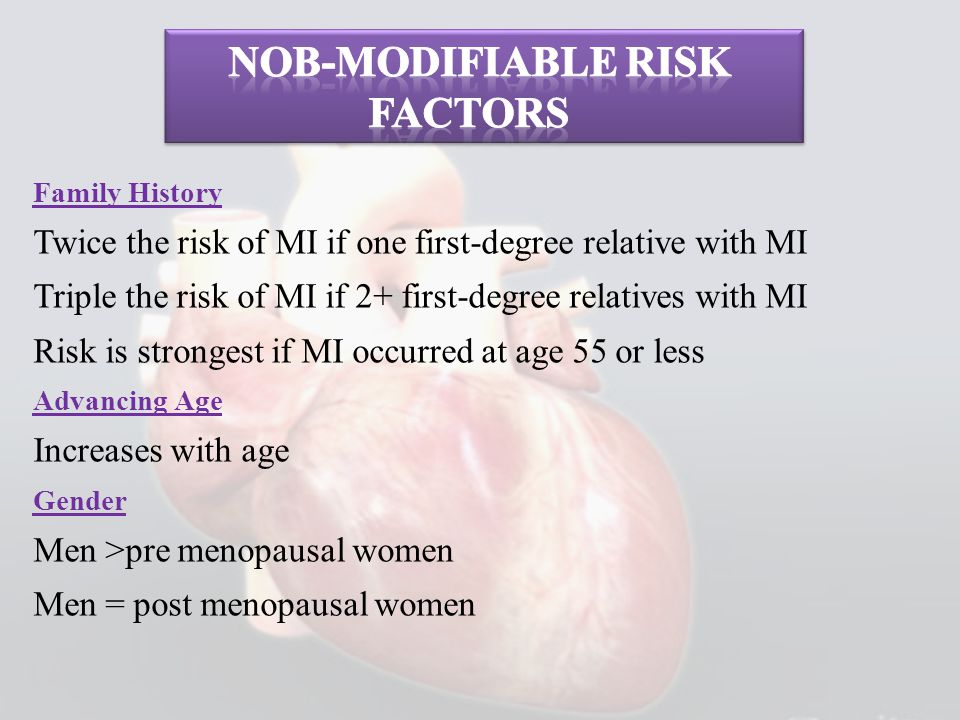 Family History Twice the risk of MI if one first-degree relative with MI Triple the risk of MI if 2+ first-degree relatives with MI Risk is strongest