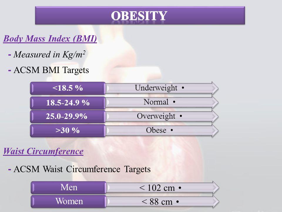 Body Mass Index (BMI) - Measured in Kg/m 2 - ACSM BMI Targets Waist Circumference - ACSM Waist Circumference Targets Underweight 18.5-24.9 % Normal <1