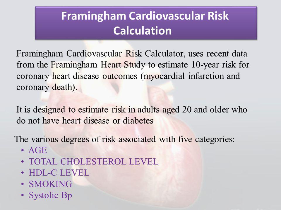 Framingham Cardiovascular Risk Calculator, uses recent data from the Framingham Heart Study to estimate 10-year risk for coronary heart disease outcom