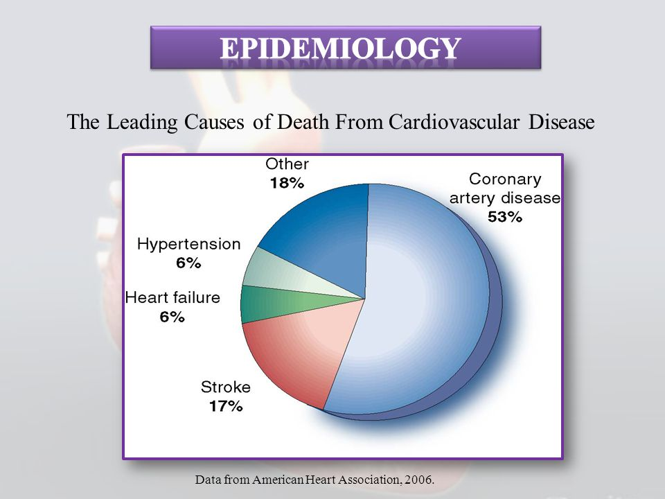 The Leading Causes of Death From Cardiovascular Disease Data from American Heart Association, 2006.