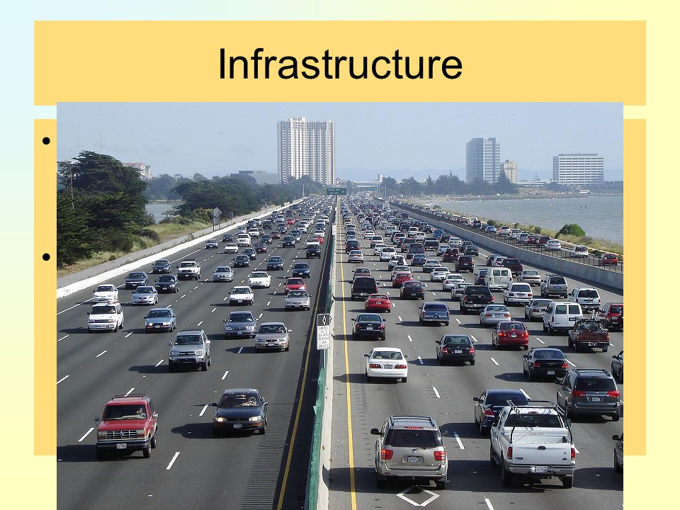 Infrastructure the basic physical and organizational structures needed for the operation of a society or enterprise The term typically refers to the technical structures that support a society, such as roads, water supply, sewers, power grids, telecommunications, air fields, railways, canals.