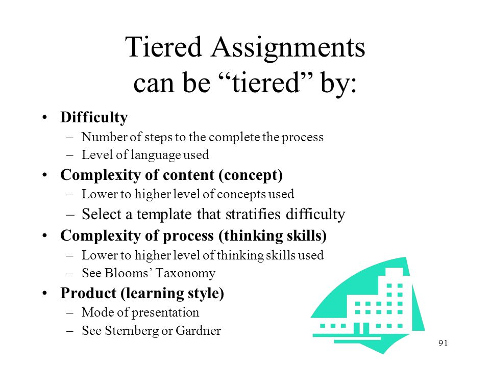 90 Tiered Assignments Parallel tasks at varied levels of complexity, depth, and abstractness with various degrees of scaffolding, support or direction All activities are engaging, offer an appropriate level of challenge and respectful Assignment can be based on teacher assessment or student choice
