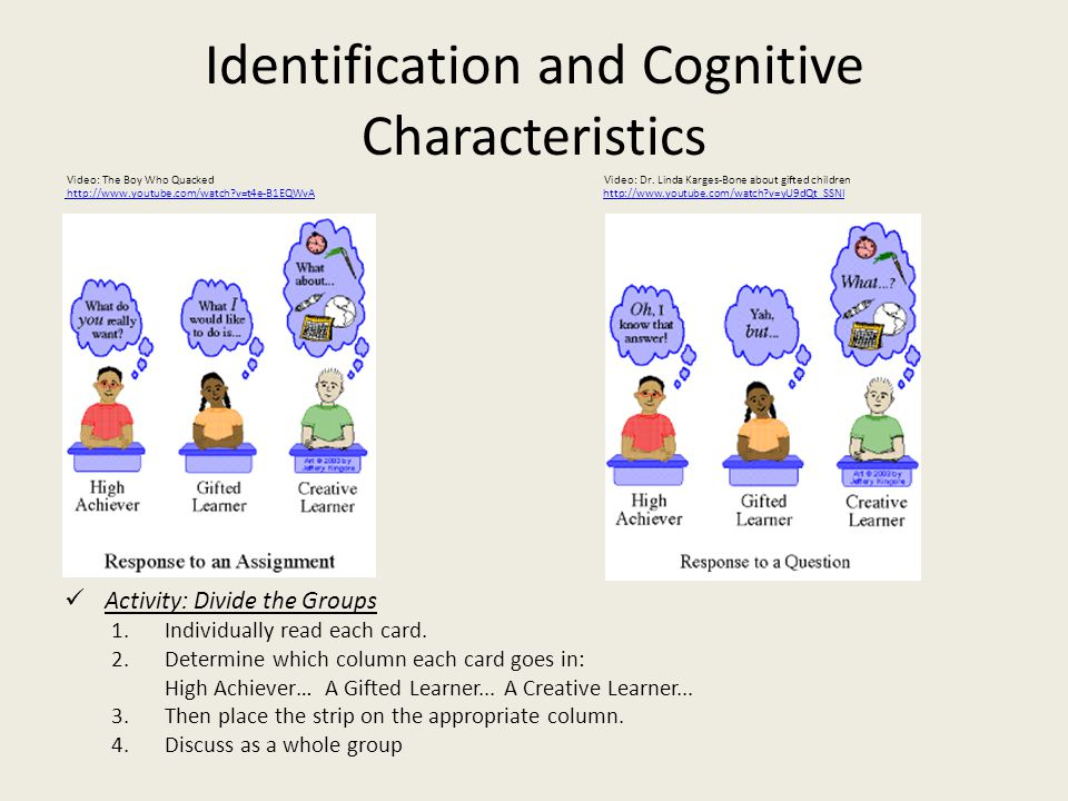 Identification and Cognitive Characteristics Video: The Boy Who Quacked Video: Dr.