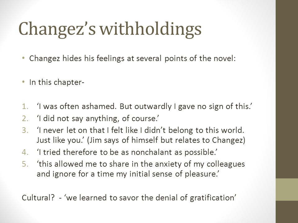 Changez's withholdings Changez hides his feelings at several points of the novel: In this chapter- 1.'I was often ashamed. But outwardly I gave no sig