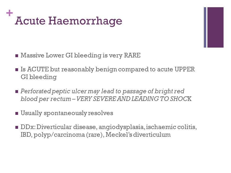 + Acute Haemorrhage Massive Lower GI bleeding is very RARE Is ACUTE but reasonably benign compared to acute UPPER GI bleeding Perforated peptic ulcer