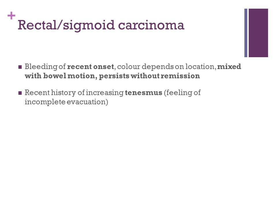 + Rectal/sigmoid carcinoma Bleeding of recent onset, colour depends on location, mixed with bowel motion, persists without remission Recent history of