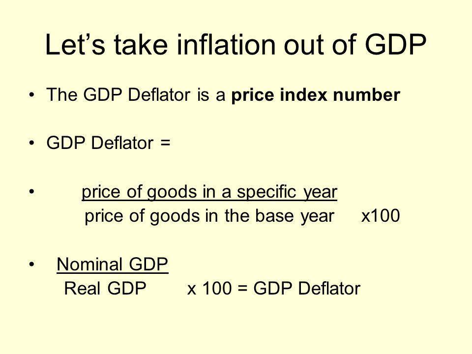 This would also make sense… Nominal GDP Index # = Real GDP
