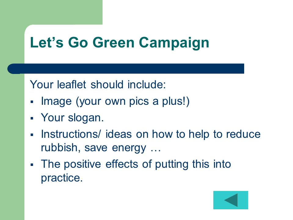 Let's Go Green Campaign Your leaflet should include:  Image (your own pics a plus!)  Your slogan.