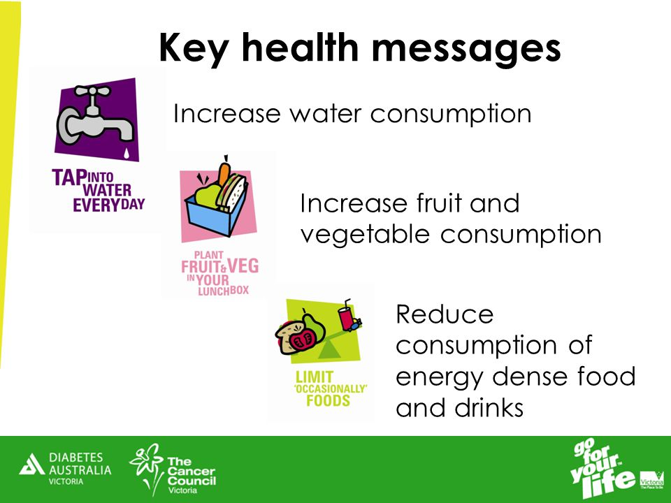 Key health messages Increase water consumption Increase fruit and vegetable consumption Reduce consumption of energy dense food and drinks