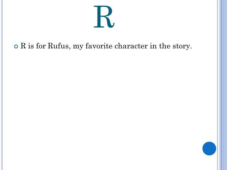 R R is for Rufus, my favorite character in the story.