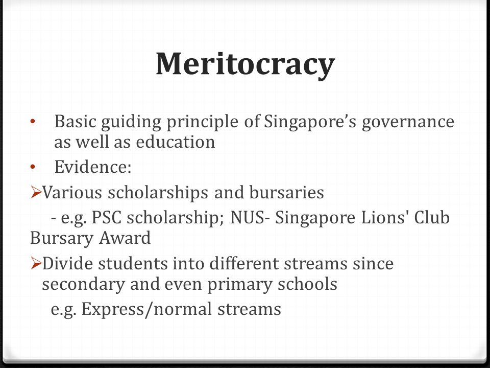 Meritocracy Basic guiding principle of Singapore's governance as well as education Evidence:  Various scholarships and bursaries - e.g.