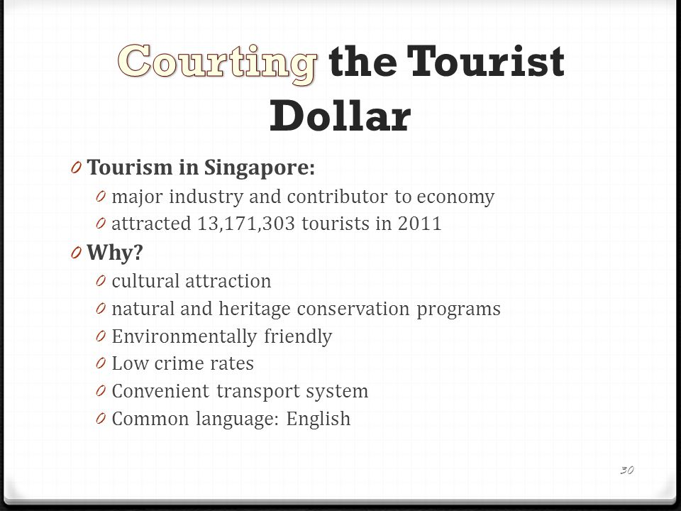 0 Tourism in Singapore: 0 major industry and contributor to economy 0 attracted 13,171,303 tourists in 2011 0 Why.